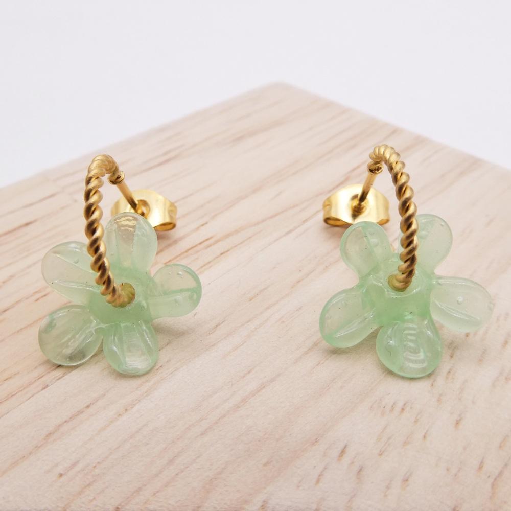 Small Mint Green Flower twisted  hoop earrings-gold