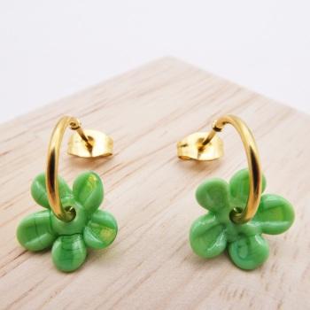 Small Green Flower hoop earrings-gold