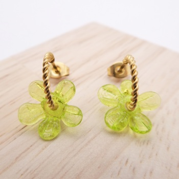 Small Lime Green Flower twisted  hoop earrings-gold