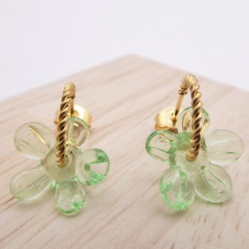 Small Pale Green Flower twisted  hoop earrings-gold