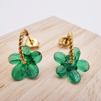Small Forest Green Flower twisted  hoop earrings-gold