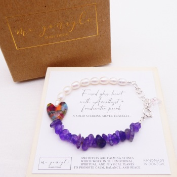 Freshwater Pearl Bracelet with amethyst chips
