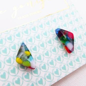 Multicoloured  geo studs #30