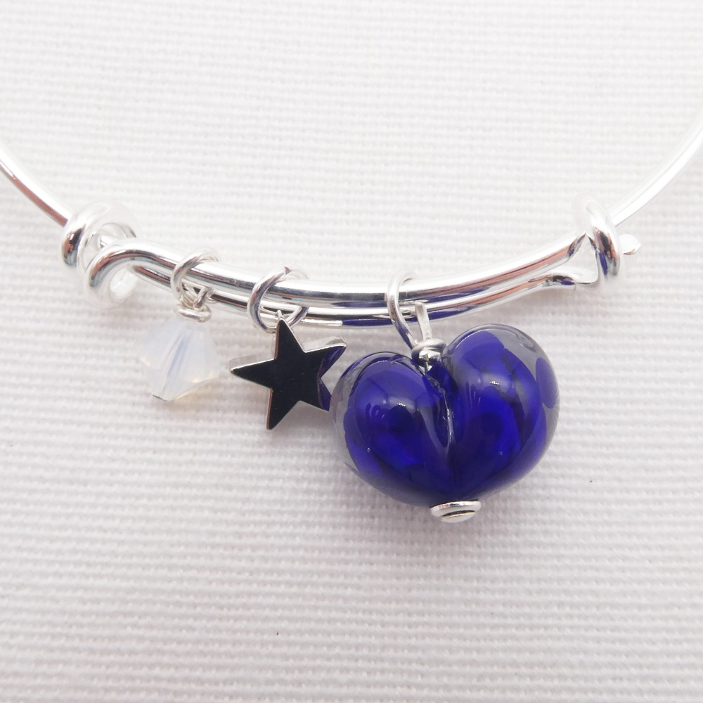Royal Blue glass Heart On a silver Plated Bangle