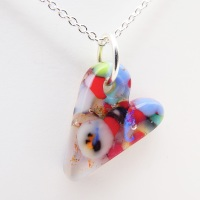 Miliforie glass heart on silver #6