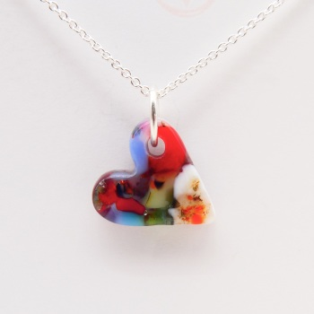 Multicoloured glass heart on silver #1