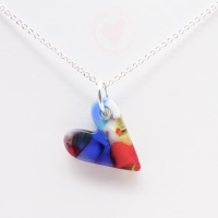 Multicoloured glass heart on silver #3