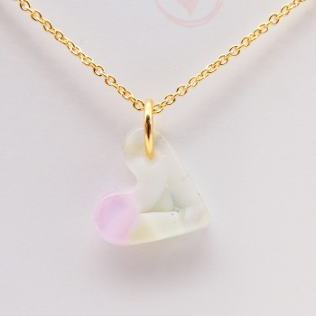Pastel glass heart on filled gold #1