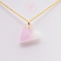 Pastel glass heart on filled gold #2