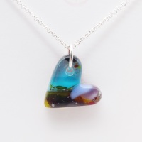 Multicoloured glass heart on silver #5