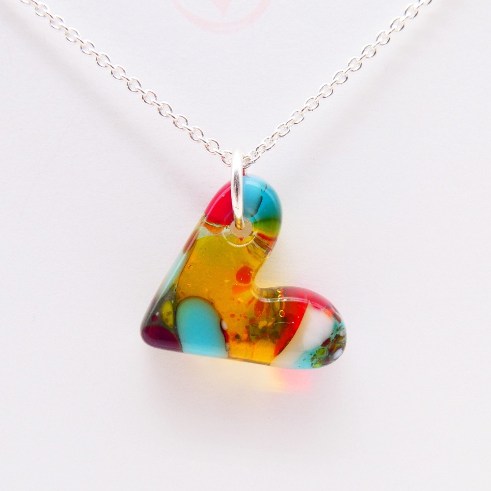 Multicoloured glass heart on silver #6