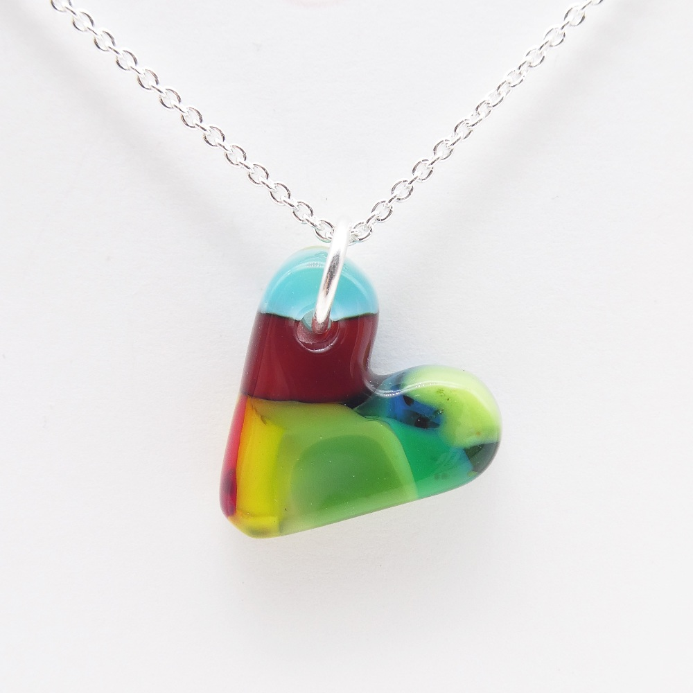 Multicoloured glass heart on silver #7