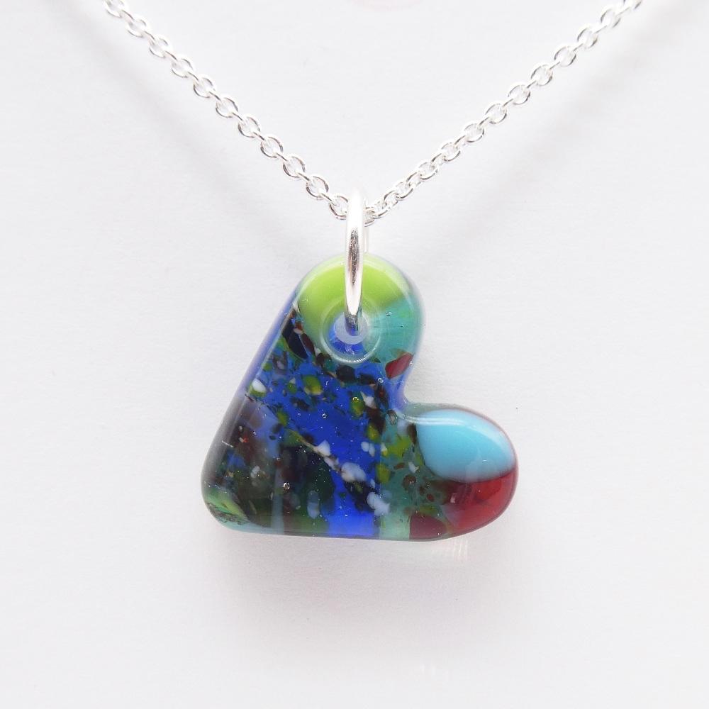 Multicoloured glass heart on silver #8