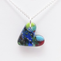 Multicoloured glass heart on silver #8