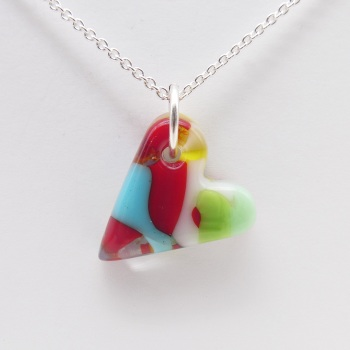Multicoloured glass heart on silver #9
