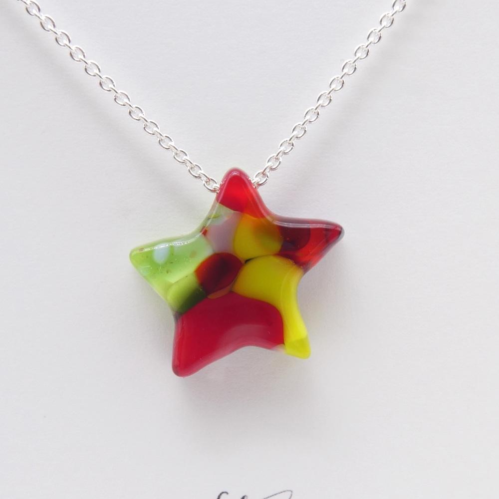 Multicoloured Glass Star on silver #3