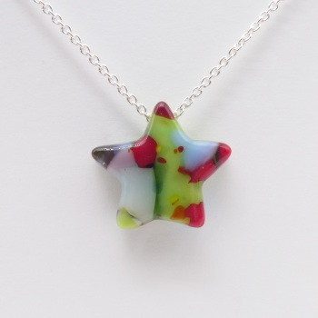 Multicoloured Glass Star on silver #4