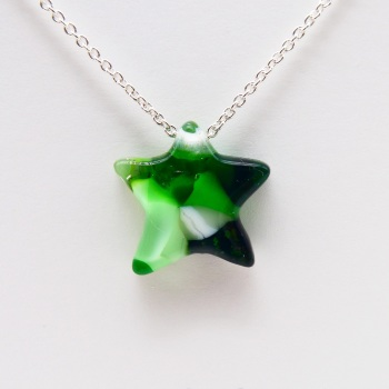 Green Glass Star on silver