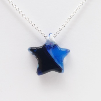 Blue Glass Star on silver