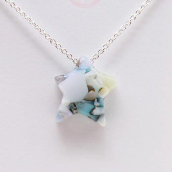 Pastel Glass Star on silver