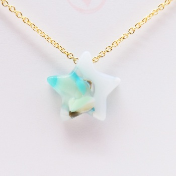 Pastel  Glass star on gold #2
