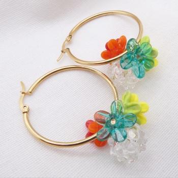 """Hola""-Large Creole Glass hoop earrings"