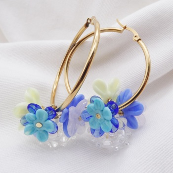 """Azure""-Large Creole Glass hoop earrings"