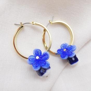 Blue cuties- Big Creole Glass hoop earrings
