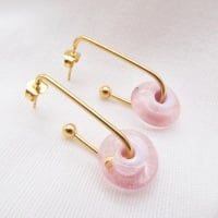 Peachy Pink  Glass Disc Drop earrings