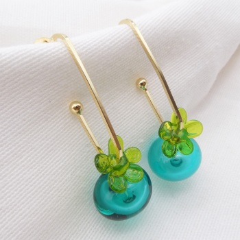 Green and Teal Glass Bauble Drop earrings