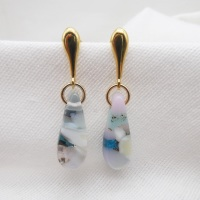 Pastel raindrop earrings on filled gold