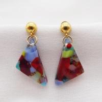 Multicoloured geo drop earrings on filled gold
