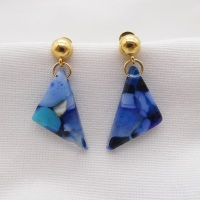 Blue geo drop earrings on filled gold