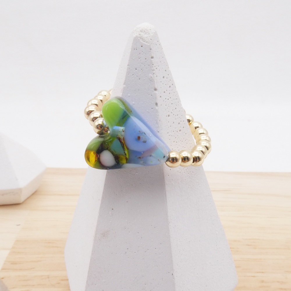 Simply Gold Ring with Glass Heart #1