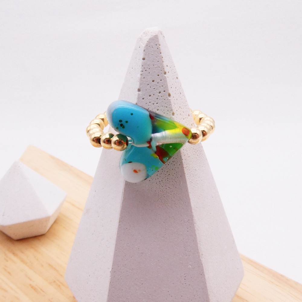 Simply Gold Ring with Glass Heart #3