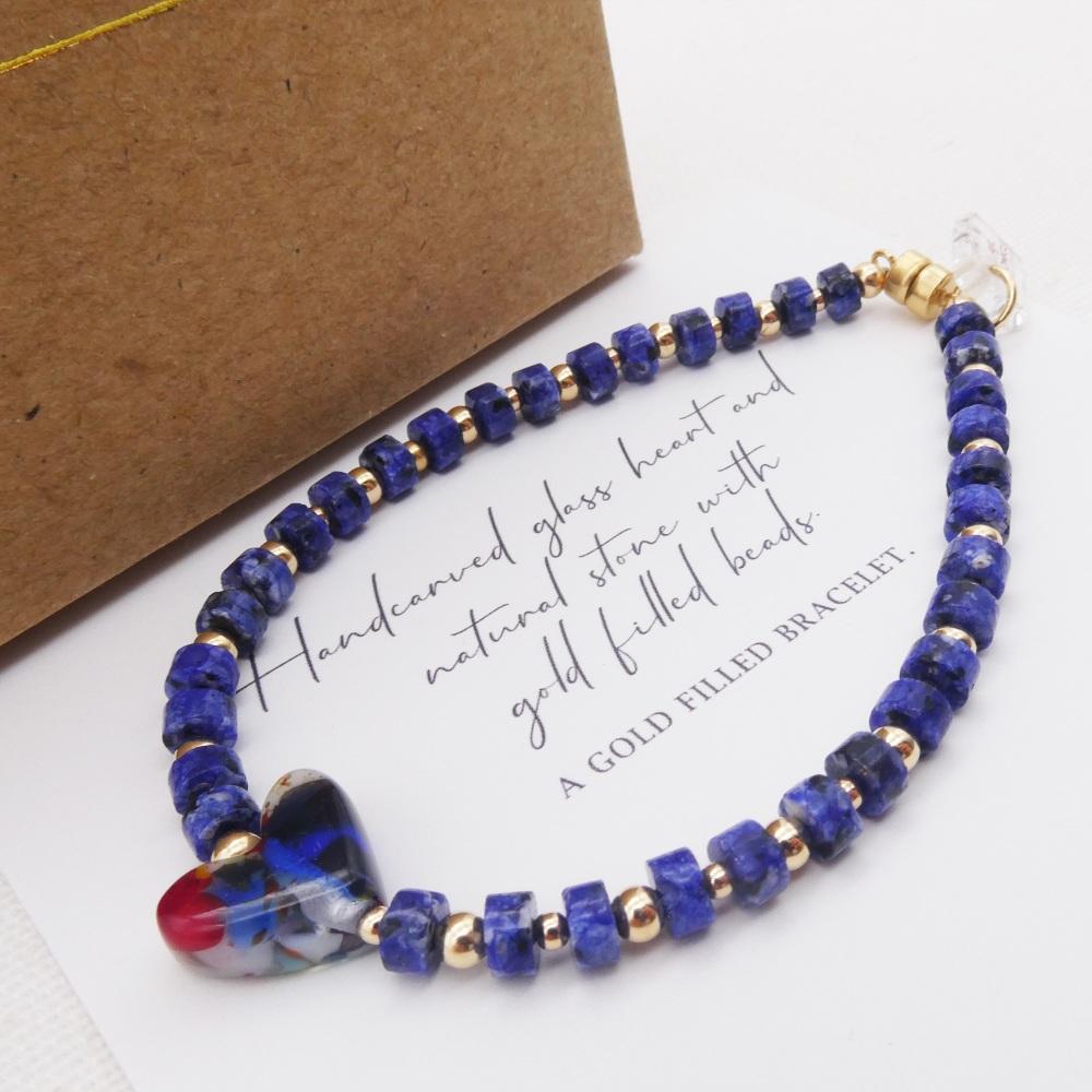 Blue natural stone bracelet on gold