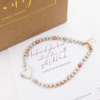 Pastel natural stone bracelet on gold