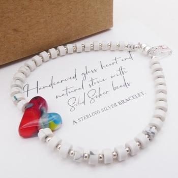 White natural stone bracelet on silver