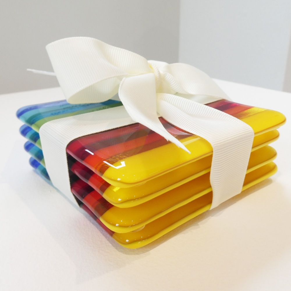 Fused glass coasters set #4