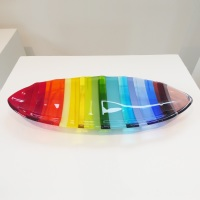 Large Rainbow fused glass boat bowl #1