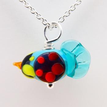 Glass Bird Necklace- silver