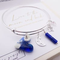 Solid sterling silver bangle-Love to the moon and back