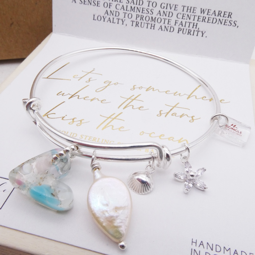 Solid sterling silver bangle- Let's go somewhere where the stars kiss the o
