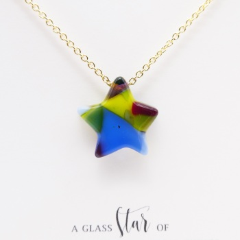 Multicoloured Glass star on gold #1