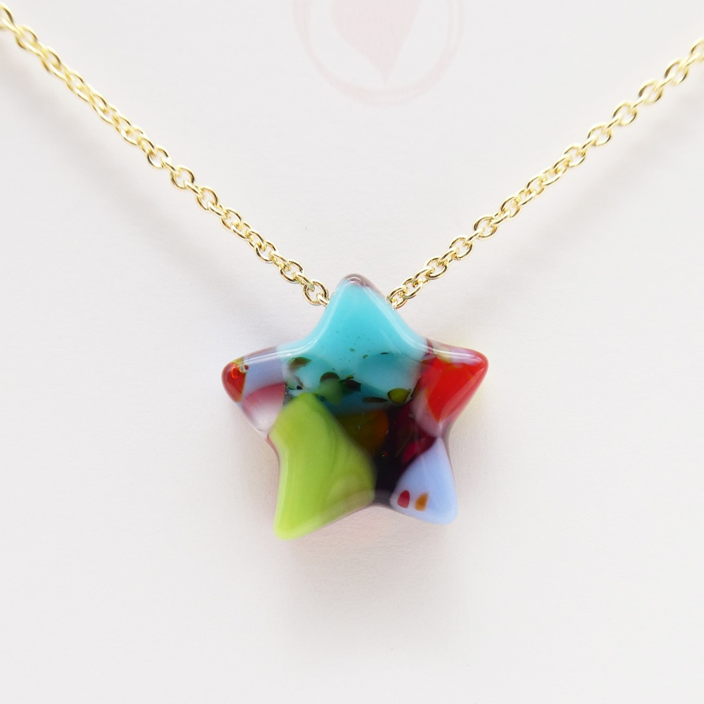Multicoloured Glass star on gold #2