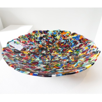 Large fused and slumped glass bowl