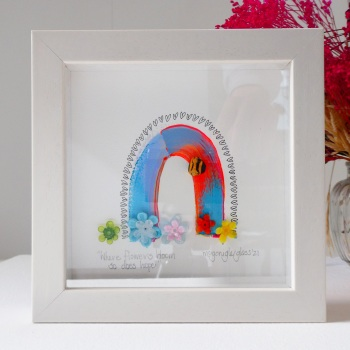 Where flowers bloom... -tiny framed picture