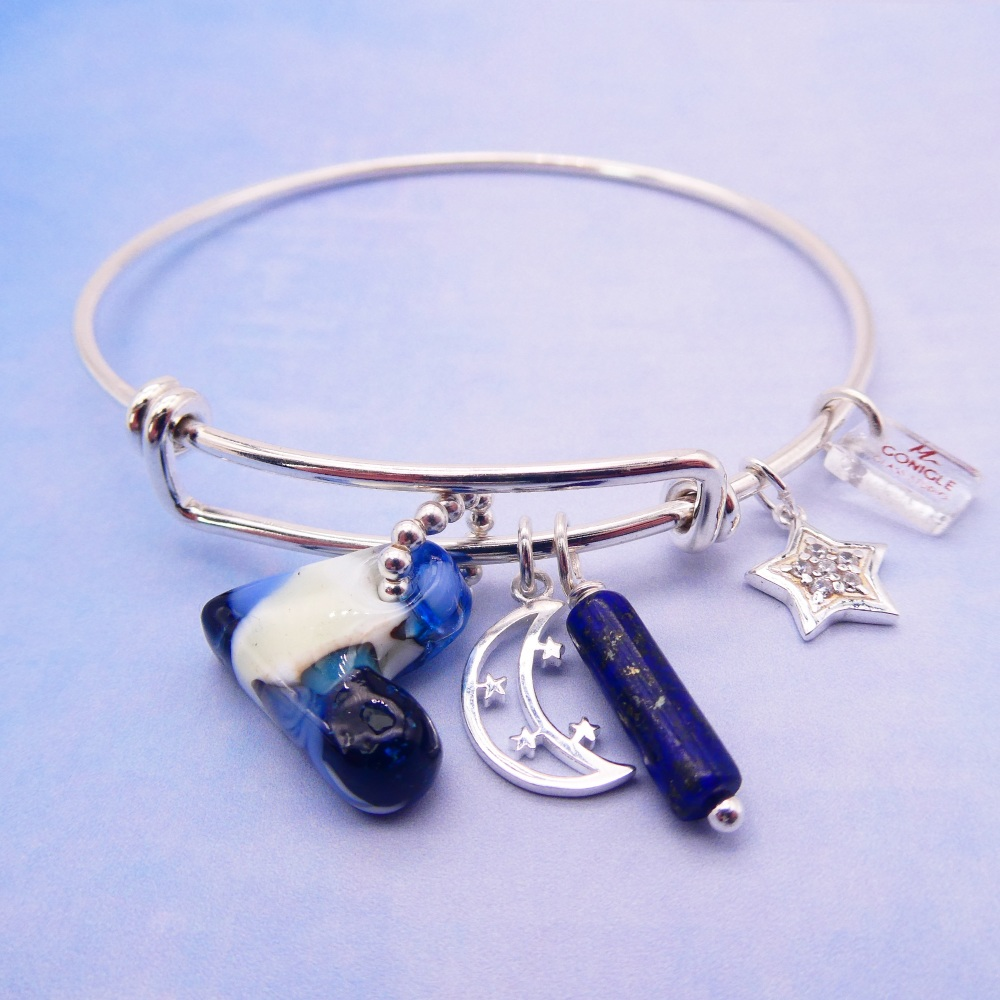 Solid sterling silver bangle-Love to the moon and back  #2