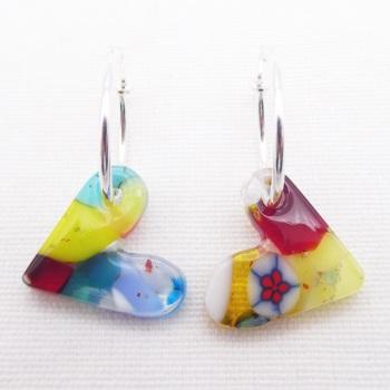Glass Heart earrings on sterling silver hoops #1