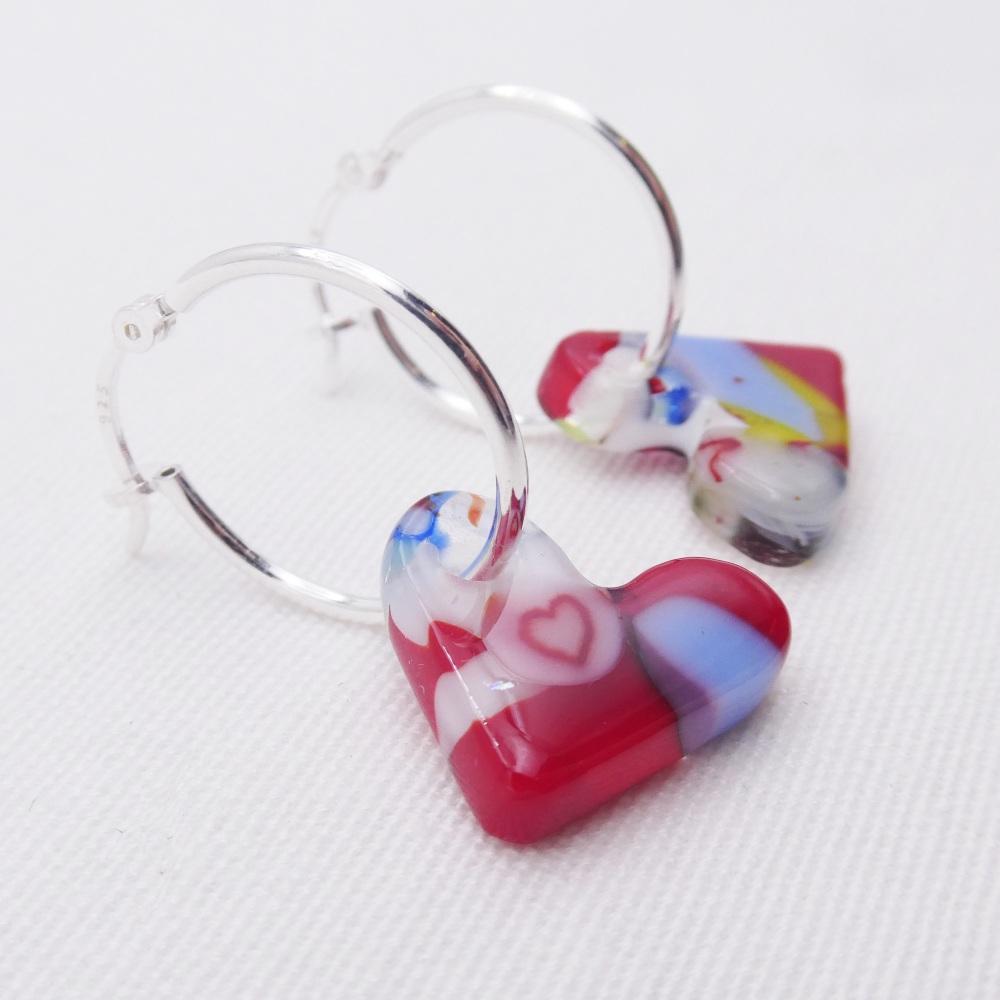 Glass Heart earrings on sterling silver hoops #2